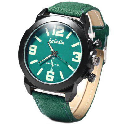1PC Kaladia Quartz Watch Round Dial Leather Watchband for Men