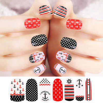 Charming Anchor Style Nail Art Tip Sticker with Nail File Gift Home Nail Beauty Supplies