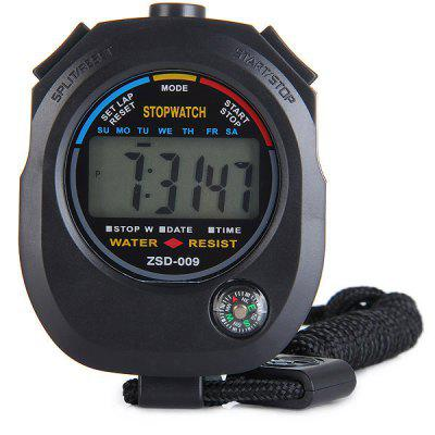 ZSD - 009 Precise Electronic Stopwatch LCD Sport Watch with Compass Time Alarm Date Calendar Function