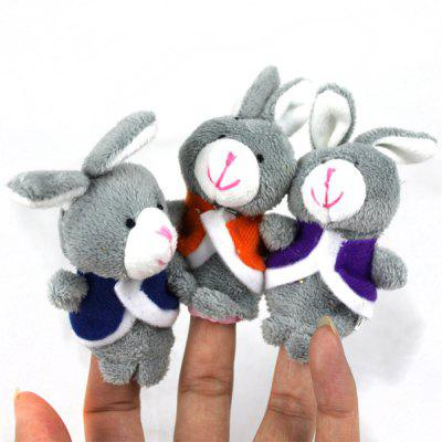 3pcs Rabbit Design Plush Toy Finger Puppets