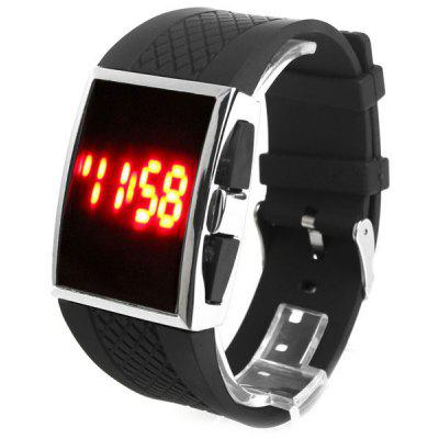 YH - 06 LED Watch Date Toughened Glass Mirror Silicone Band Touch Screen