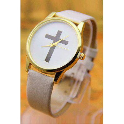 Vintage PU Leather Cross Pattern Watch For Women