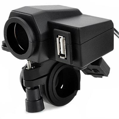 Jtron Universal Motorcycle USB Water Resistant Power Supply Adapter with Cigarette Lighter Socket for Phone GPS iPod