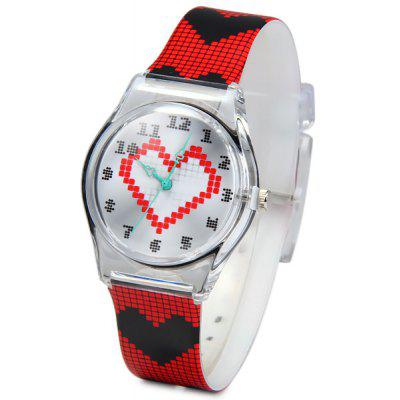 Children Christmas Gift Quartz Watch Heart Pattern Round Dial Rubber Watch Band