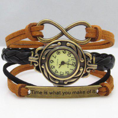 Fashion Women's Eight Slogan Layered Friendship Bracelet Watch