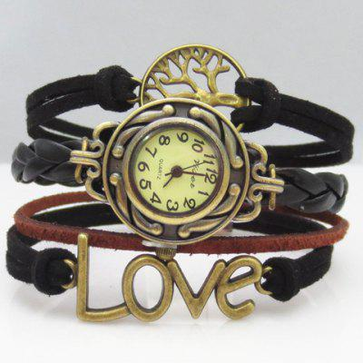 Chic Women's Letter Tree Layered Friendship Bracelet Watch