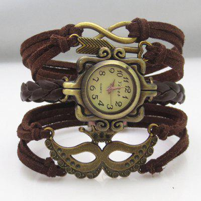 Arrow Infinity Mask Layered Friendship Bracelet Watch