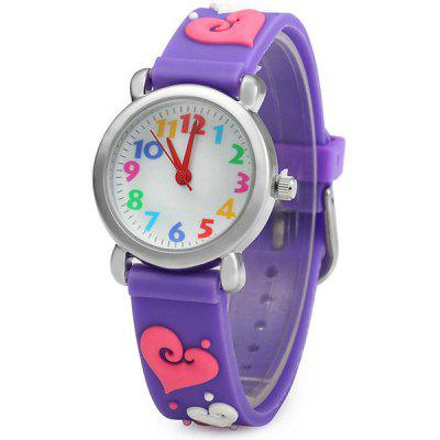 Christmas Gift Children Quartz Watch Heart Pattern Rubber Watch Band