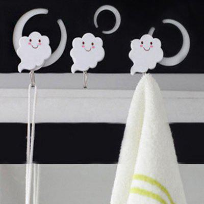 3pcs Kitchen Bathroom Wall Door Strong Adhesive Hook Sticky Hanger with Cloud Design