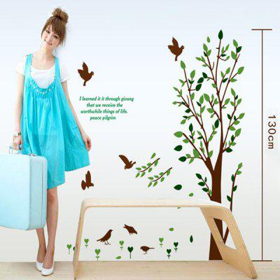 Creative Reusable DIY Decorative Green Tree and Bird Pattern Wall Sticker Removable Decor Mural for House Ornament