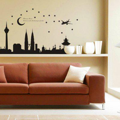 diy home decoration repositionable malaysia twin towers pattern wall sticker mural beautiful home wall ornaments - Stickers Muraux Design Decoration