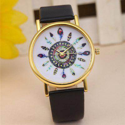 Women Feather Quartz Watch Round Dial Leather Strap