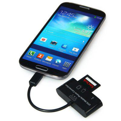 3 in 1 Micro USB Interface Smart Card Reader HUB Support USB 2.0 TF SD MMC Card
