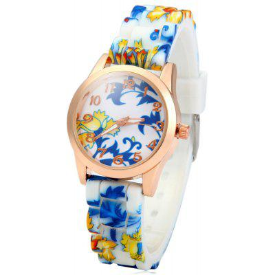 Small Golden Round Dial Quartz Watch with Silicone Printed Flower Causal Strap for Women