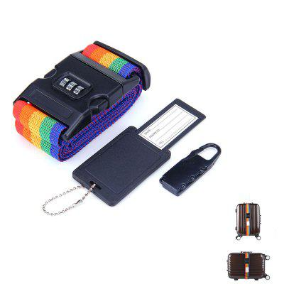 3 Sets Rainbow Style 2m Luggage Safe Baggage Belt Strap Combination Lock Luggage Tag
