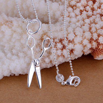 Stylish Scissor Silver Plated Pendant