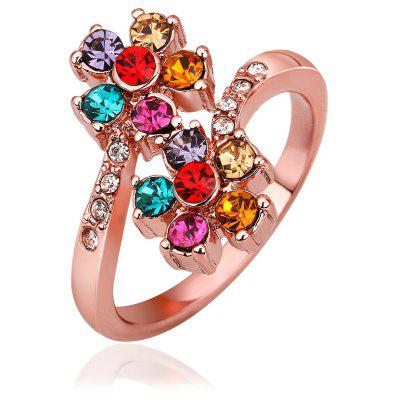 Gorgeous Plated Rose Gold Colorful Rhinestone Floral Ring For Women