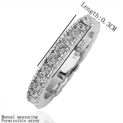 Trendy Plated White Gold Environmental Alloy Narrow Width Crystal Ring