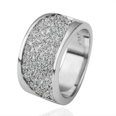 Brilliant Plated White Gold Environmental Alloy Broad Side Crystal Ring