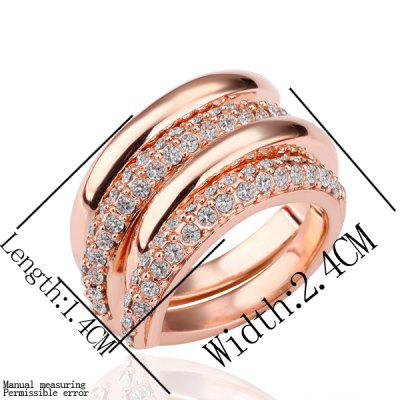 Gorgeous Plated Rose Gold Circinate Crystal Alloy Ring For Wedding