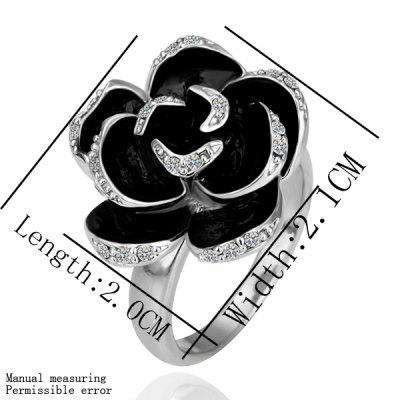 Chic Style White Gold Alloy Black  Stoving Varnish Floral Crystal Ring