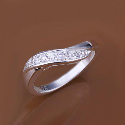 Stylish Rhinestone Prong Setting Curve Ring