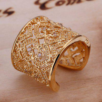 Luxurious Embellished Rhinestone Hearts Glod Plated Ring For Women