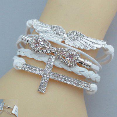 Rhinestone Wings Cross Infinity Friendship Bracelet