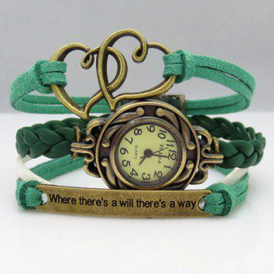 Multilayered Heart Friendship Bracelet Watch