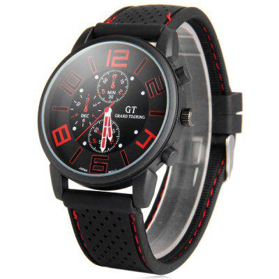 GT Sports Male Military Watch Analog Quartz Wristwatch Silicone Strap Round Dial