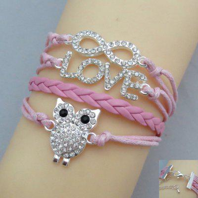 Chic Women's Rhinestone Eight Letter Owl Friendship Bracelet