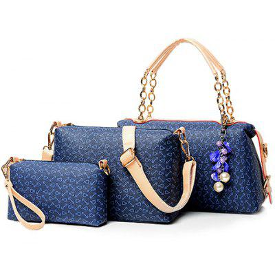 Graceful Floral Print and Chain Design Women's Tote Bag
