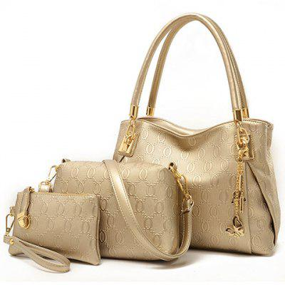 Graceful Metallic and Embossing Design Women's Shoulder Bag