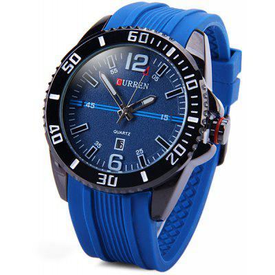 Curren 8178 Male Quartz Watch Round Dial Rubber Strap Day Function ... 6adaf05d79