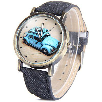 Female Car Quartz Watch Round Dial Leather Band