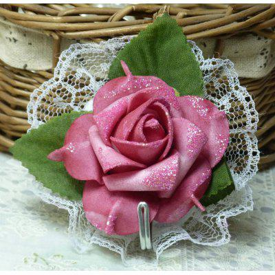 Elegant Adhesive Fake Rose Countryside Cloth Lace Hook Clothes Hat Hanger Multi - use Home Decors Household Necessities