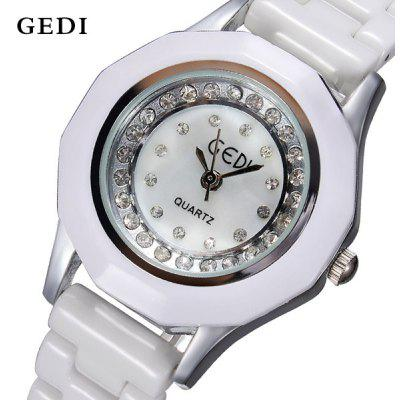 GEDI 981 Ladies Diamond Quartz Watch Round Dial Ceramic Strap