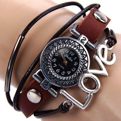 Buy WHITE Yulan Quartz Watch Love Word Round Dial Leather Band Wristwatch for Ladies for $3.95 in GearBest store