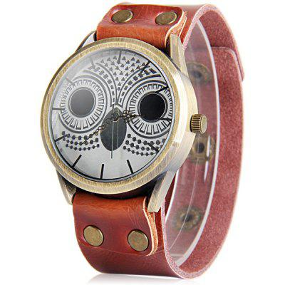 Buy BROWN Ladies Night Owl Quartz Watch Leather Strap Round Dial for $6.76 in GearBest store