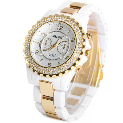 Miler A12841 Luxurious Diamond Ladies Quartz Watch Round Dial Ceramic + Steel Strap