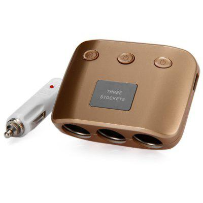 4 - in - 1 Car Cigarette Lighter Splitter with Three Sockets 2 USB Interface