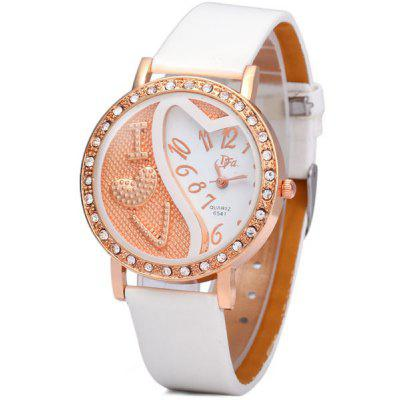 DFa 6541 Women Quartz Watch Diamond Round Dial Leather Strap
