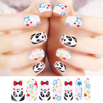 Charming Panda Style Colorful Nail Art Tip Sticker with Nail File Gift Home Nail Beauty Supplies