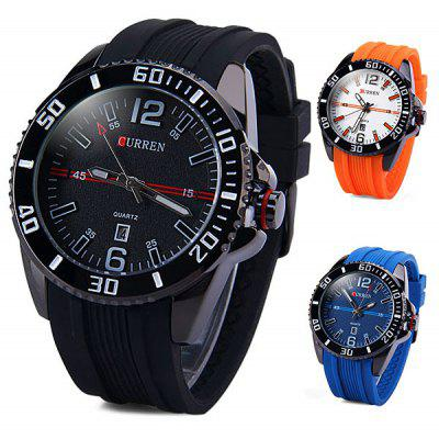 Curren 8178 Male Quartz Watch Round Dial Rubber Strap Day Function