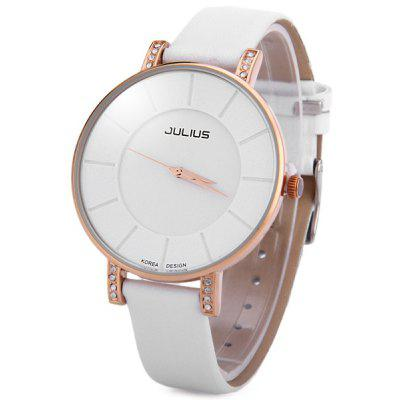 Julius 766 Ultrathin Quartz Watch Round Dial Leather Strap for Women