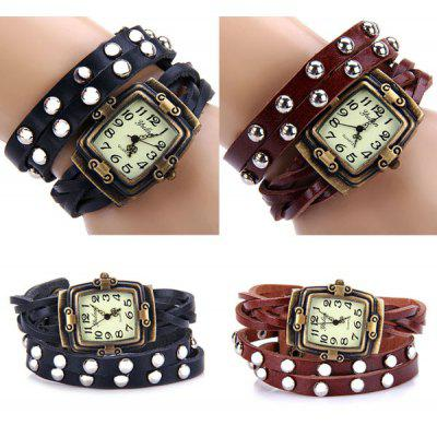 Buy BLACK Yulan Quartz Watch Rectangle Dial Leather Strap for Ladies for $4.22 in GearBest store