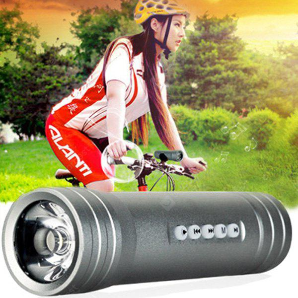 Pindo S2F Mini Flashlight Bicycle Music Speaker TF Card Bike MP3 Music Player FM Radio GRAY
