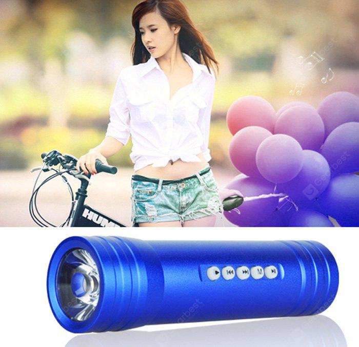 Pindo S2F Mini Flashlight Bicycle Music Speaker TF Card Bike MP3 Music Player FM Radio BLUE
