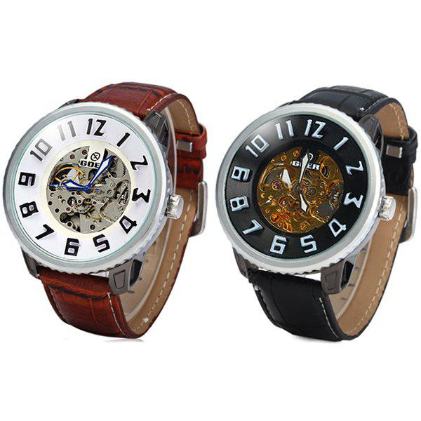 09e72f5c201 Goer Automatic Mechanical Watch 3D Scale Round Dial Leather Strap for Men -  R 146.63 Compras Online