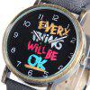 Women Quartz Watch Round Dial Words Leather Band - BLACK